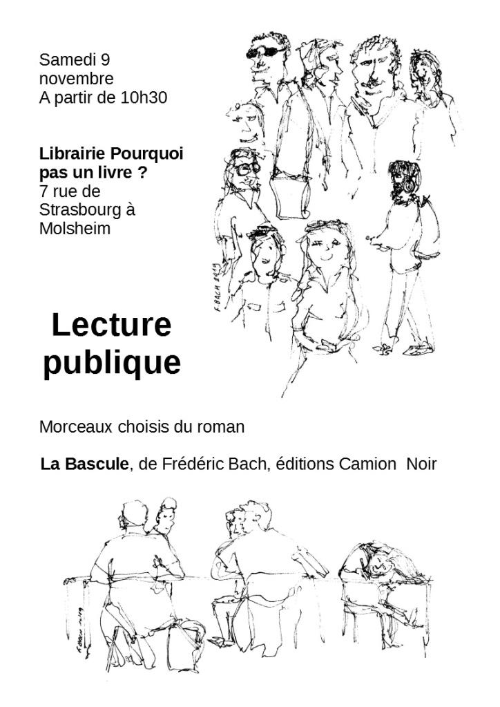 Affiche de la lecture publique du 9 novembre 2019